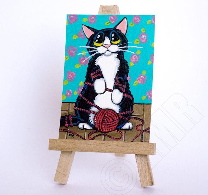 Tangled Tom - Original Cat ACEO