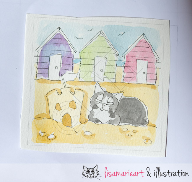 Cat and Beach Huts Sketch