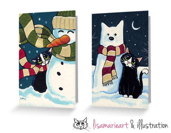 Cat Christmas Cards by Lisa Marie Robinson