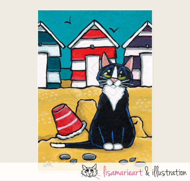 Striped Beach Huts Cat ACEO