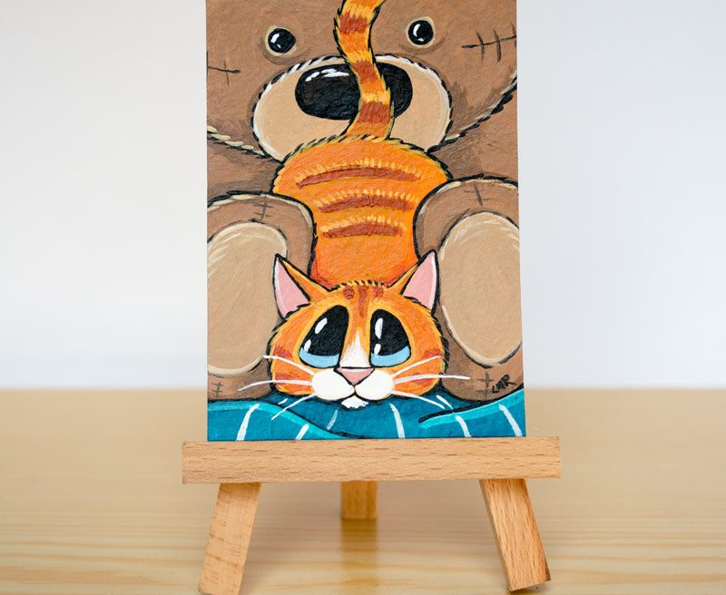 Original Cat ACEO - Back in to a Bear by Lisa Marie Robinson
