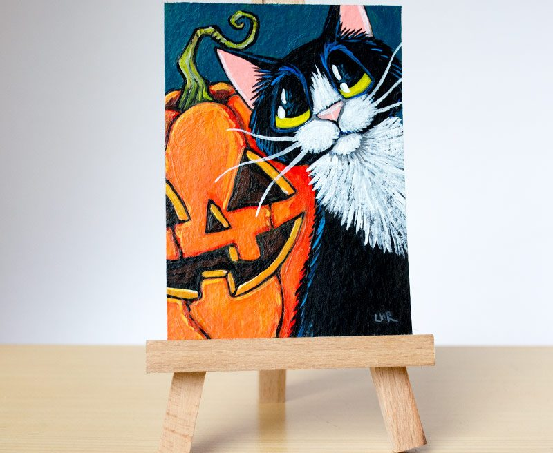 Original Cat ACEO - Pumpkin Pete by Lisa Marie Robinson