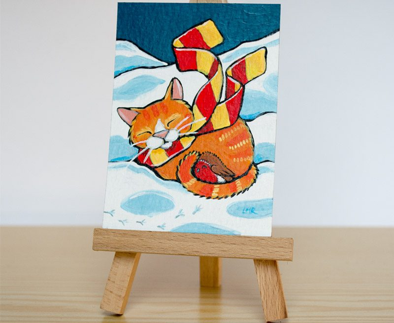 Original Cat ACEO: Chilly Willy and Robin
