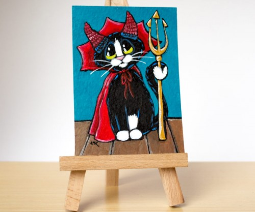 Original Cat ACEO - Handsome Little Devil by Lisa Marie Robinson