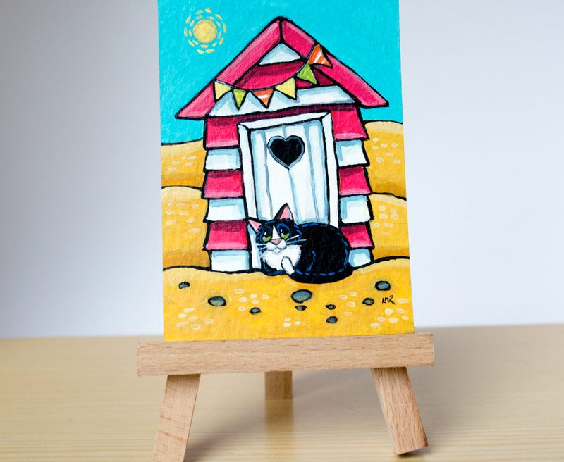 Original Cat ACEO - Sand Love and Bunting by Lisa Marie Robinson