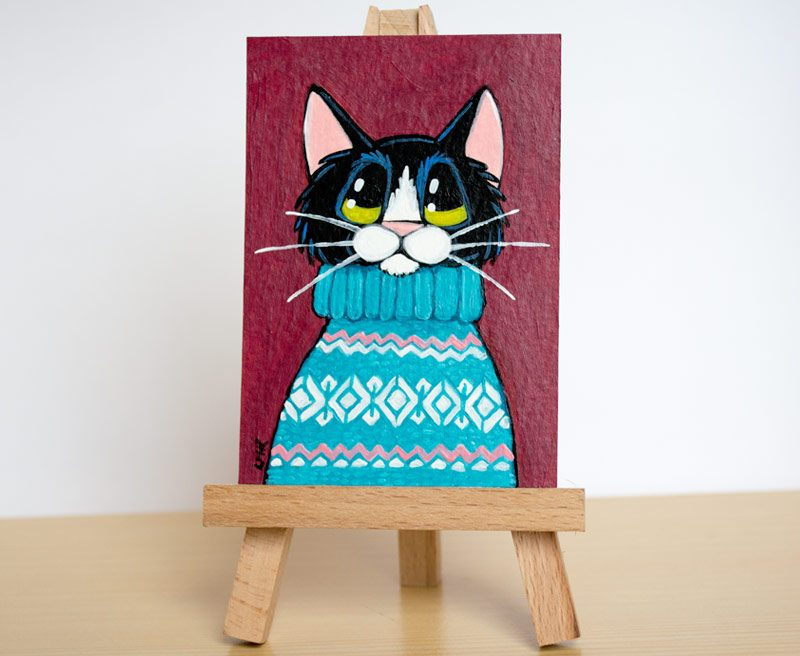 Another Ugly Sweater - Tuxedo Cat ACEO