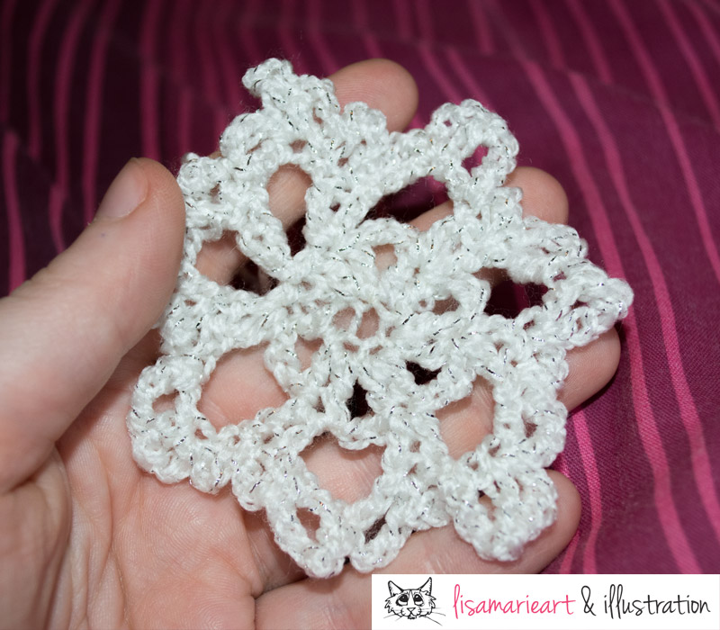 Crocheted Snowflake attempt 1