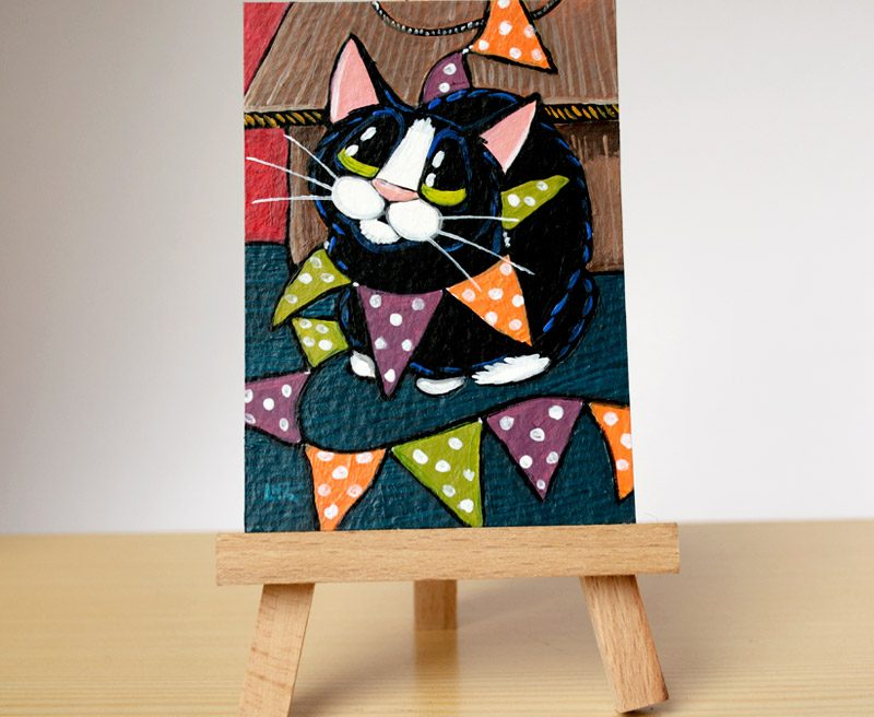 Fun with Bunting: Cat ACEO by Lisa Marie Robinson