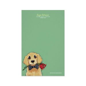 Golden Retriever and Rose Note Paper