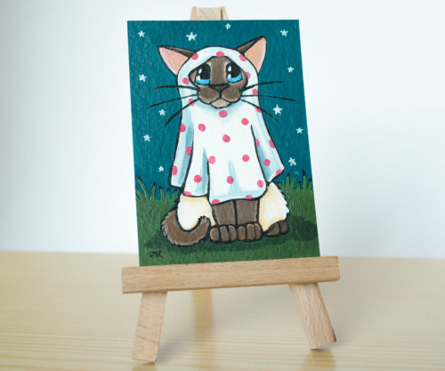 Polka Dot Ghost - Siamese Cat ACEO by Lisa Marie Robinson