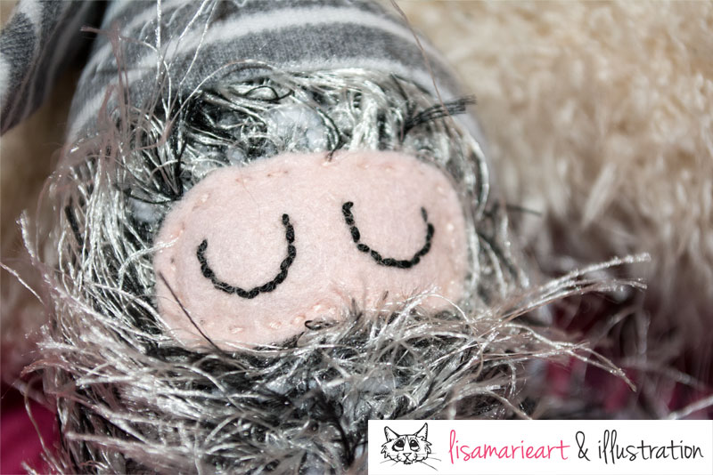 Sleepy Crocheted Critter Close Up