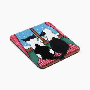 Winter Love Cat Art Coaster by Lisa Marie Robinson