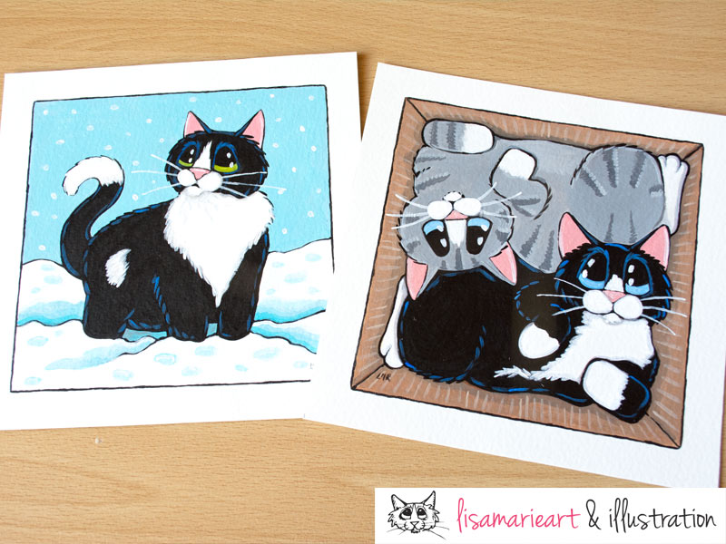 2 Cat Paintings by Lisa Marie Robinson - Whitby Galleries November 2013