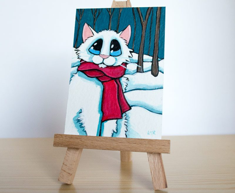 In the White Woods - Cat ACEO by Lisa Marie Robinson