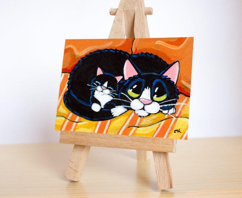 Protective Mum - Tuxedo Cat ACEO