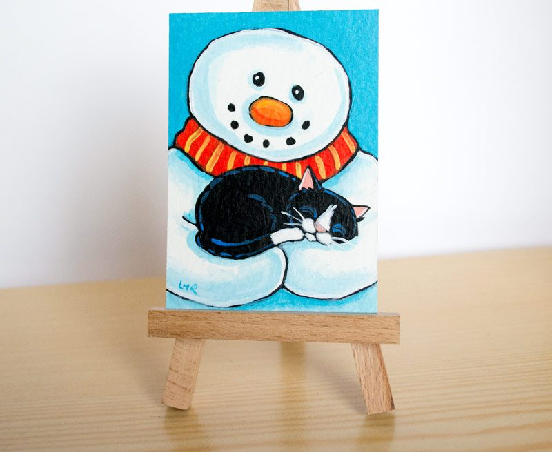 A Comfy but Chilly Place to Sleep Tuxedo Cat ACEO by Lisa Marie Robinson