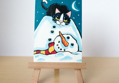 It Just Fell Off, Tuxedo Cat ACEO by Lisa Marie Robinson