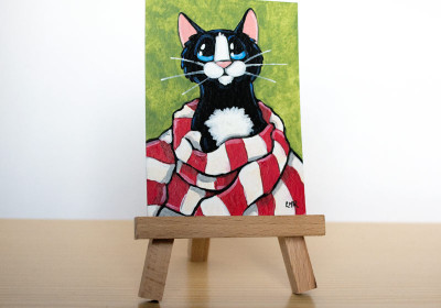 Wrapped Up Like a Candy Cane Cat ACEO by Lisa Marie Robinson