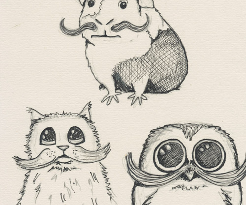Critters with Moustaches Sketch