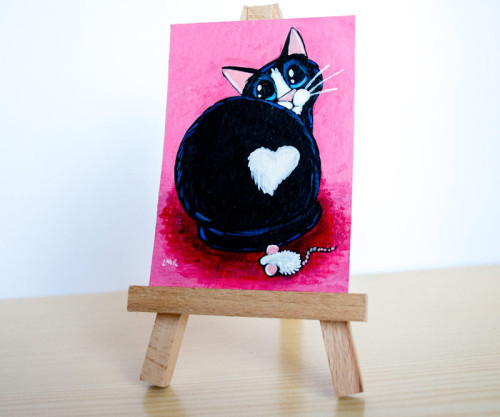 Fuzzy Love Butt - Cat ACEO by Lisa Marie Robinson