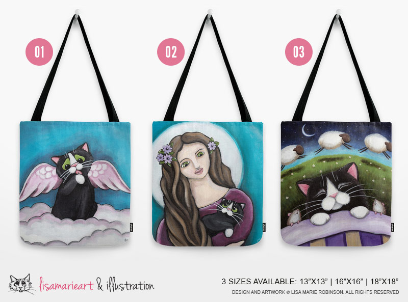 Cat Art Tote Bags by Lisa Marie Robinson