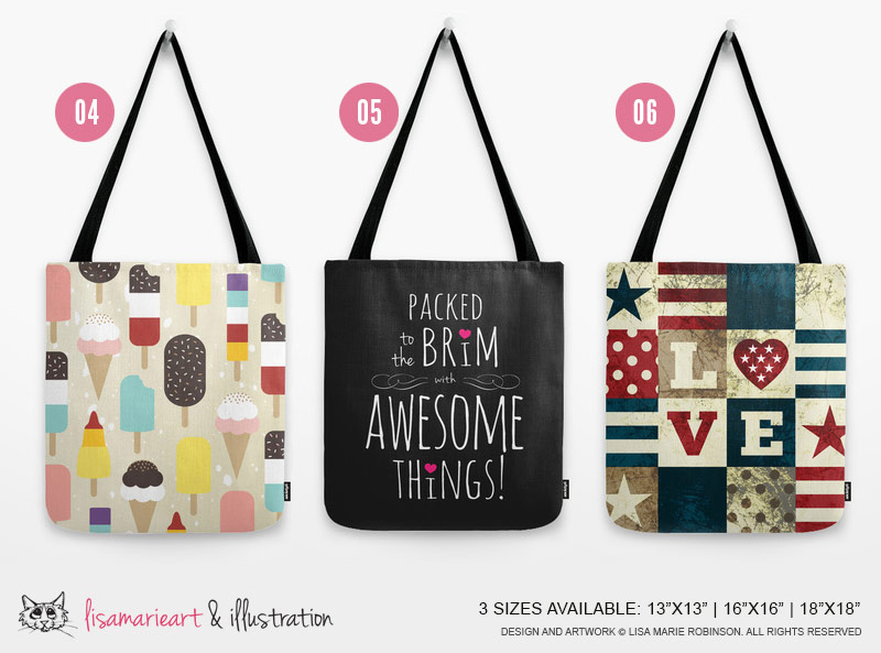 Girly Tote Bags by Lisa Marie Robinson