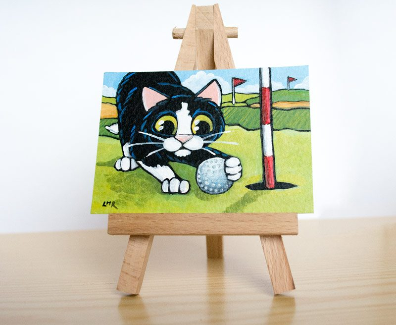 Obstruction at Hole 03: Cat ACEO
