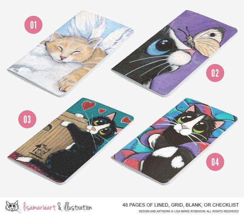Cat Art Pocket Journals by Lisa Marie Robinson
