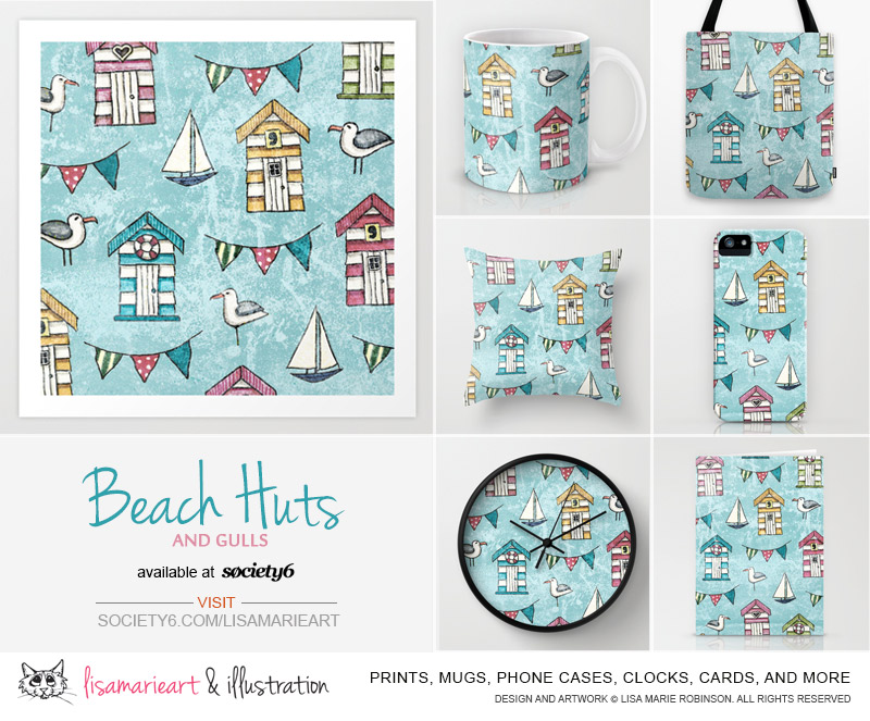 Beach Huts and Gulls Products by Lisa Marie Robinson