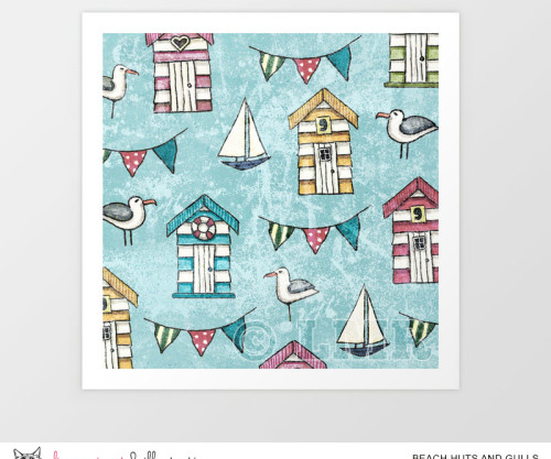 Beach Huts and Gulls Pattern by Lisa Marie Robinson