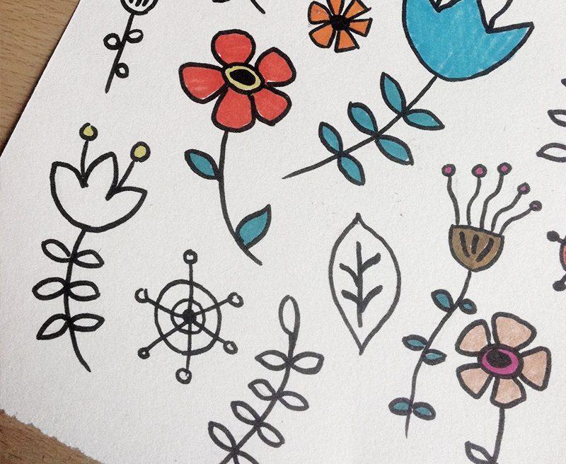 Whimsical Flower Doodles Feb 2014