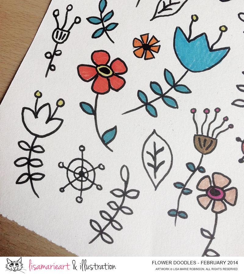 Whimsical Flower Doodles Feb 2014