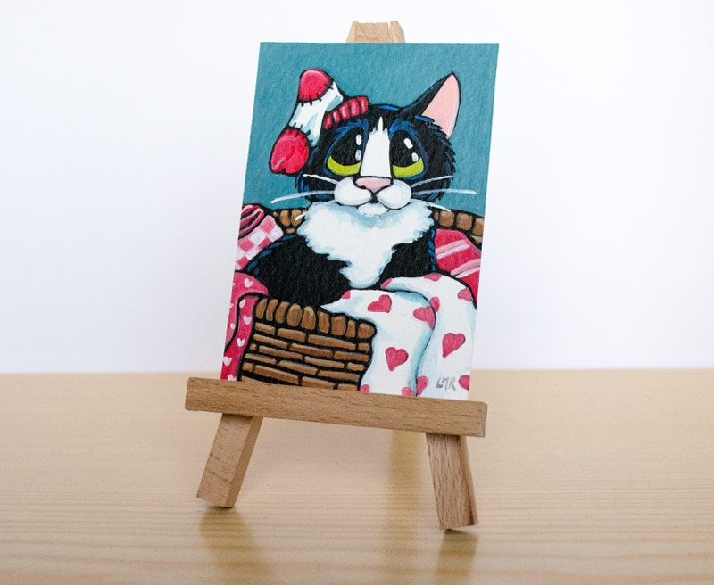 In a Love Basket: Cat ACEO Auction