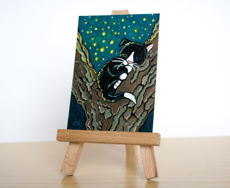A Thousand Night Lights: Cat ACEO by Lisa Marie Robinson