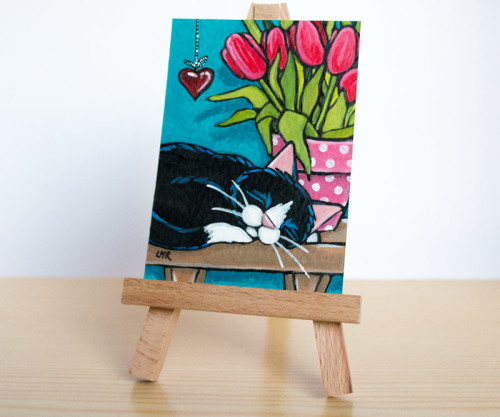 With a Hanging Heart Cat ACEO
