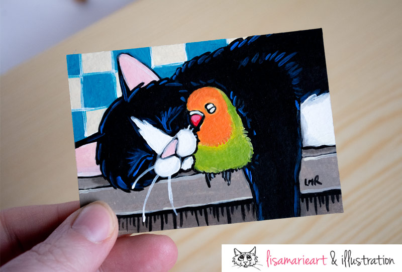 Feathers and Fur: Tuxedo Cat ACEO by Lisa Marie Robinson