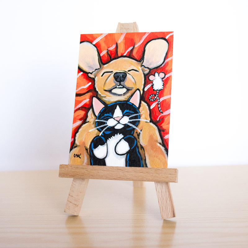Just Chillin Cat and Dog ACEO