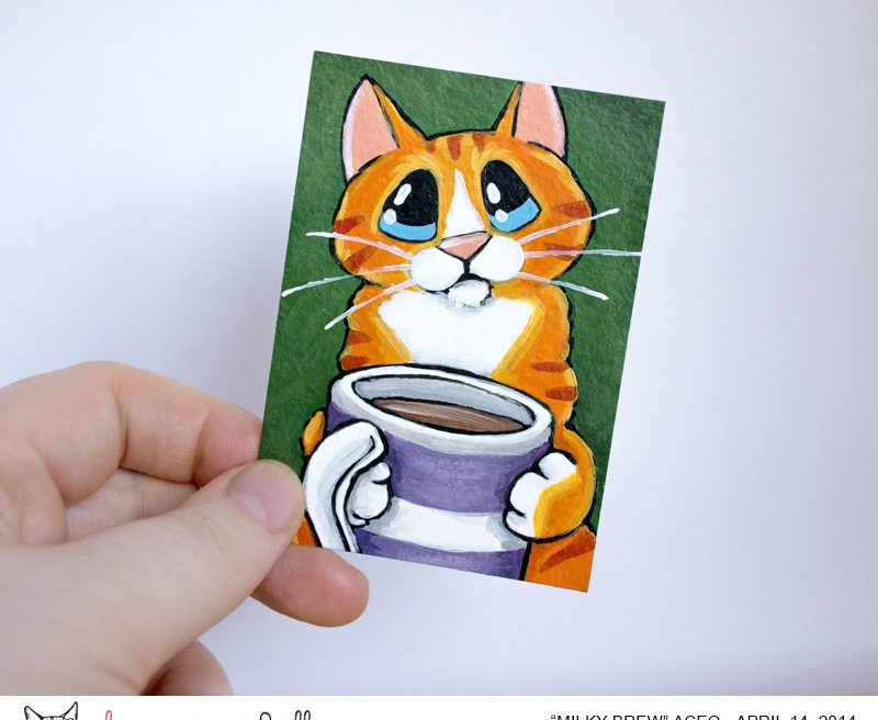 Milky Brew: Orange Tabby Cat ACEO by Lisa Marie Robinson