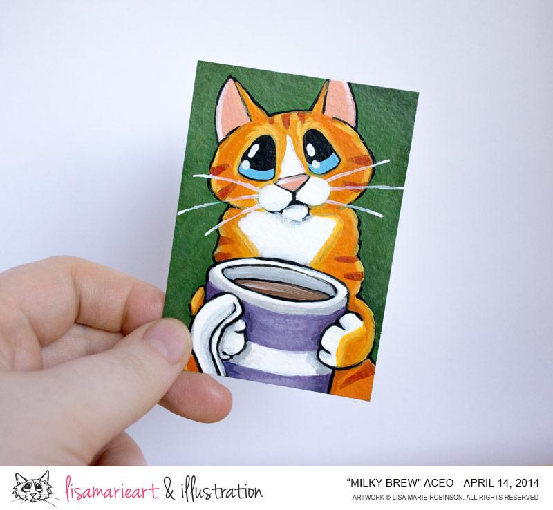 Milky Brew: Orange Tabby Cat ACEO by Lisa Marie Robinson