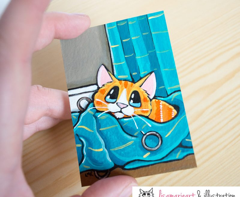 One Down One to Go: Tabby Cat ACEO by Lisa Marie Robinson