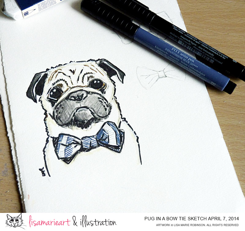 Pug Wearing a Bow Tie Sketch