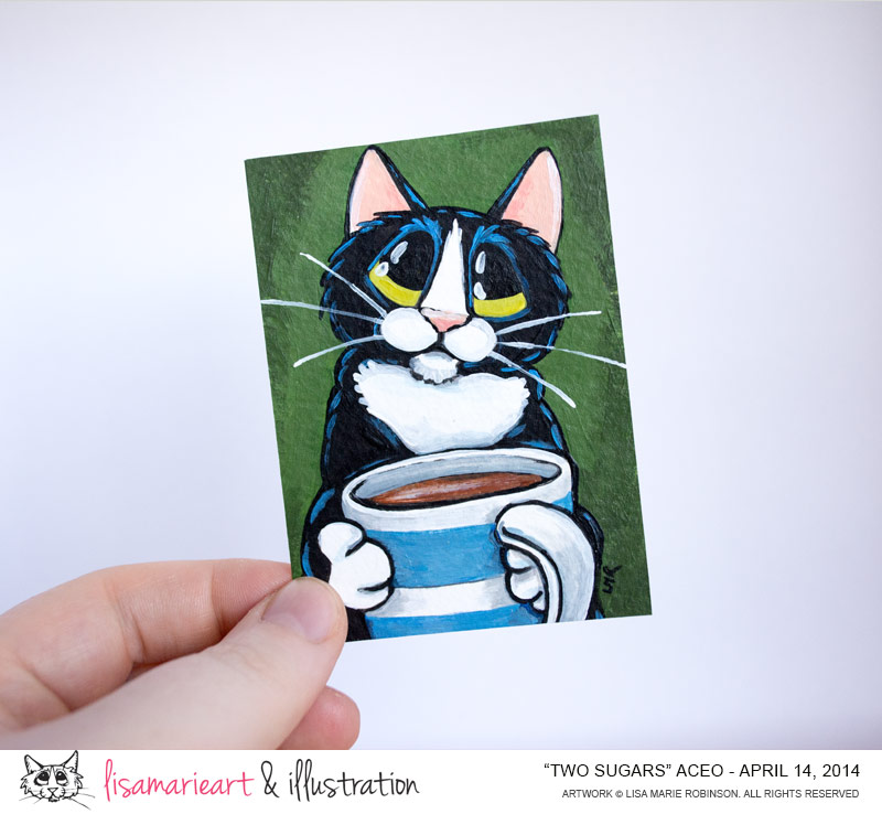 Two Sugars: Tuxedo Cat ACEO by Lisa Marie Robinson