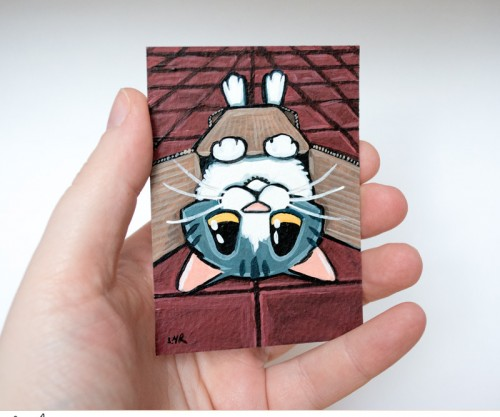 Just the Right Fit: Tabby Cat ACEO by Lisa Marie Robinson