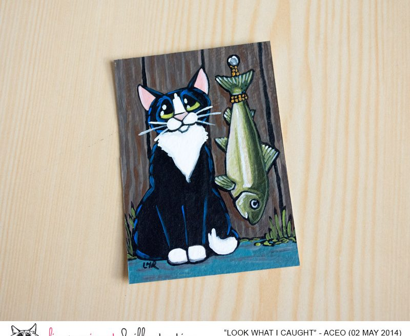 Look What I Caught - Tuxedo Cat ACEO by Lisa Marie Robinson