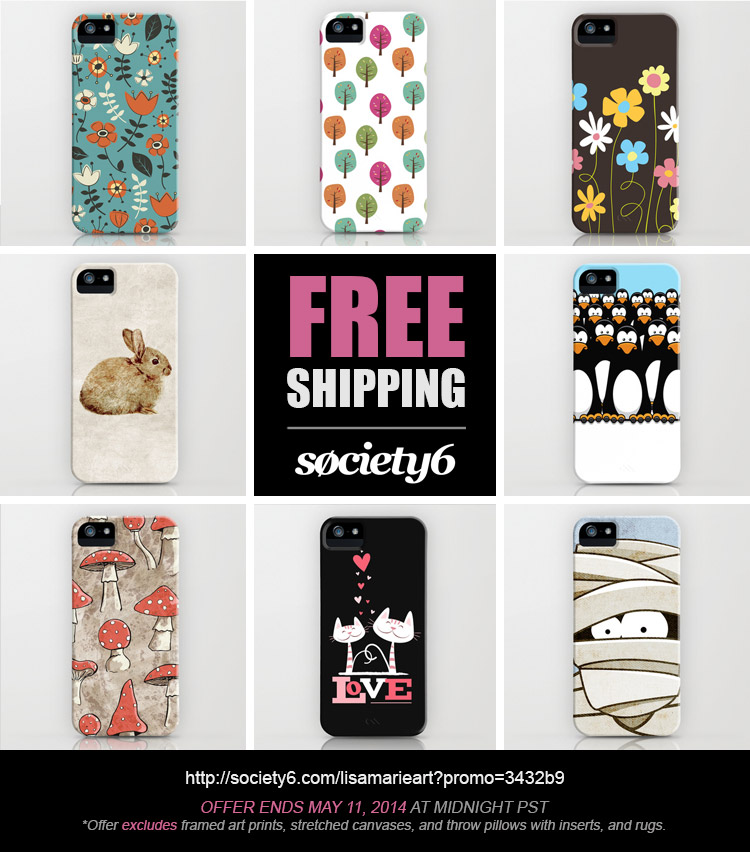 Free Worldwide Shipping at Society6 until May 11, 2014