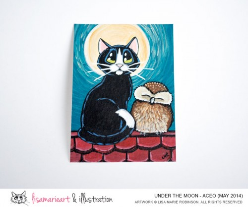 Under the Moon Cat and Owl ACEO