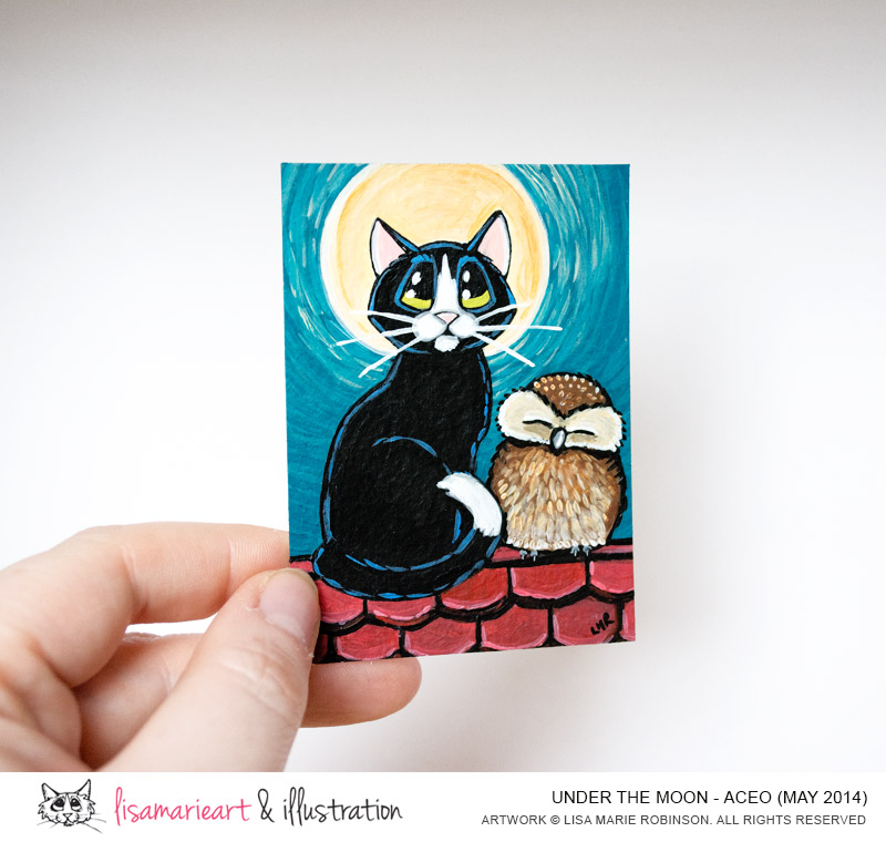 Under the Moon Cat and Owl ACEO by Lisa Marie Robinson