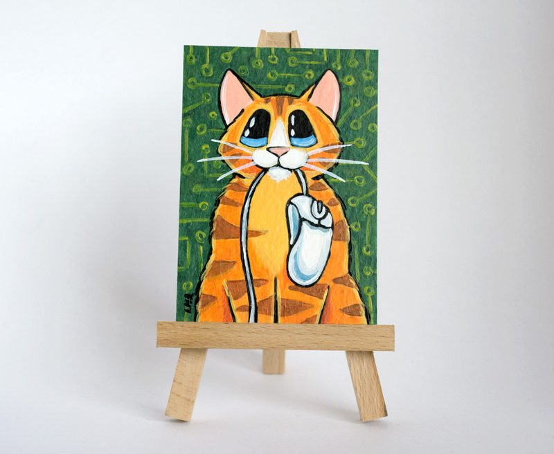 Information Age Mouser: Orange Tabby Cat ACEO by Lisa Marie Robinson