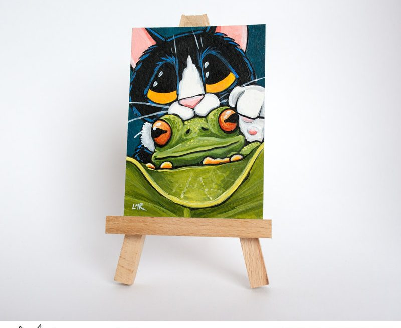 Ribbit: Tuxedo Cat and Frog ACEO by Lisa Marie Robinson