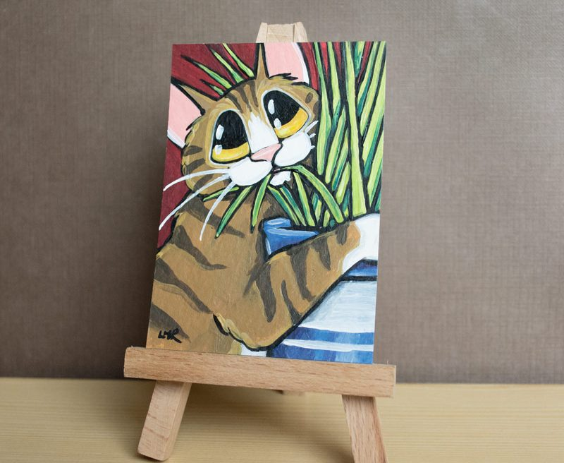 11-07-2014 Keep Off the Grass Tabby Cat ACEO by Lisa Marie Robinson